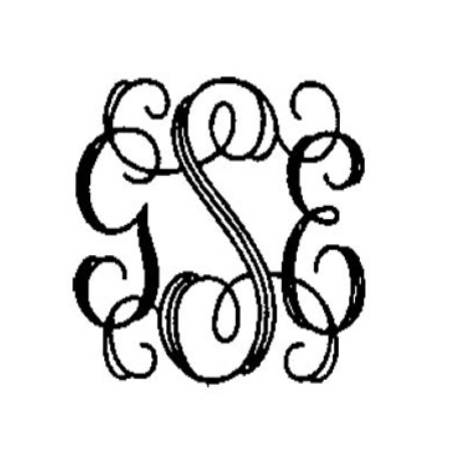 ENGRAVING TYPE INTERLOCKING MONOGRAM 11/2""